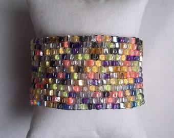 Shimmering  Melange Silver Lined Stretch Bracelet