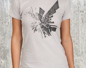 Abstract Modern Rectangle Explosion - Women's Silver Graphic Tee - Sizes S, M, L, XL