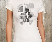 Abstract Retro Camera Collage - Women's Screen Printed T-Shirt