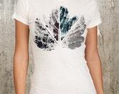Grunge Leaf - Women's Screen Printed Alternative Apparel T-Shirt - Size S, M, L, XL