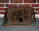 Retro Styled Messenger Bag - Piet Mondrian - Abstract Shape Collage