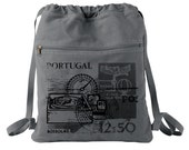 Old Portugal Compass Stamp - Hand Screen Printed Drawstring Backpack