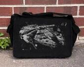 Star Wars Millenium Falcon Old Postal Stamp - Black Cotton Canvas Messenger Bag