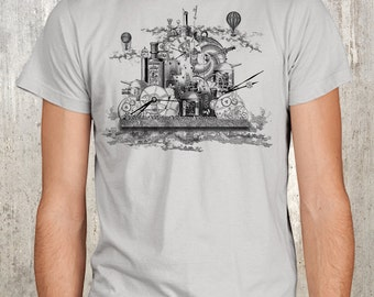 Steampunk Cloud City Collage - Men's T-shirt
