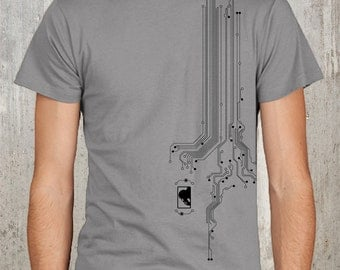 Men's Graphic Tshirt - Computer Circuit Board Pattern with Pondering Monkey Logo
