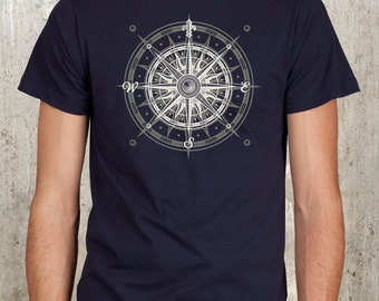 Men's T-Shirt - Nautical Compass Collage - Sizes Small, Medium, Large, XL and 2XL Available.