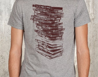 Stack of Retro Cassette Tapes - Screen Printed Men's Heather Grey T-Shirt