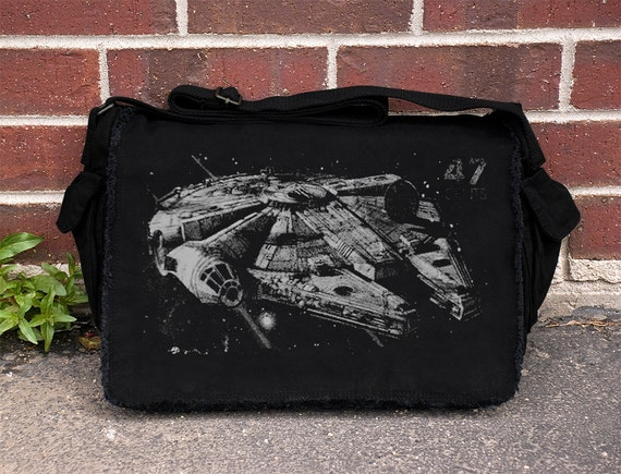 Star Wars Millenium Falcon Old Postal Stamp - Black Cotton Canvas Messenger Bag