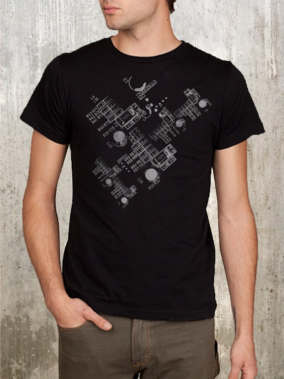 Detailed Circuit Board Typography Collage - Men's Screen Printed Tshirt - Small, Medium, Large, XL and 2XL Available