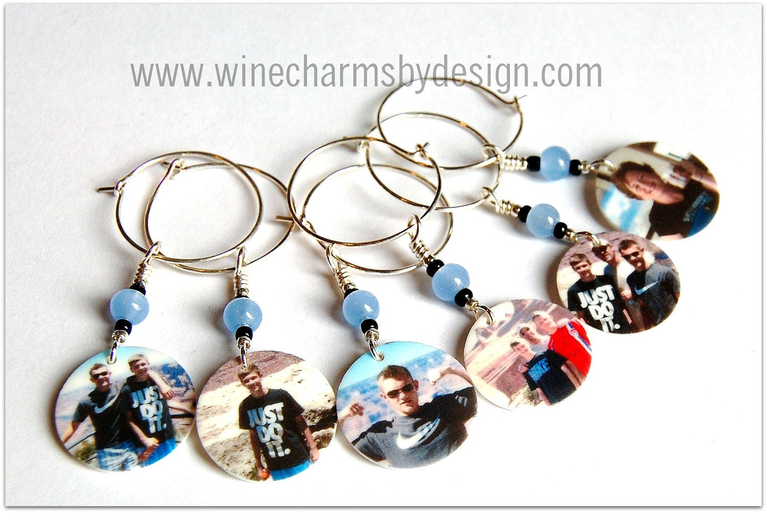personalized or custom wine charms set of by