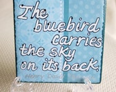 SIGN   Bluebird carries sky on its back  CLEVER SAYING