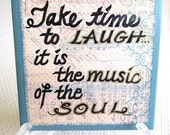 Laughing is music of the soul    PAINTED TILE