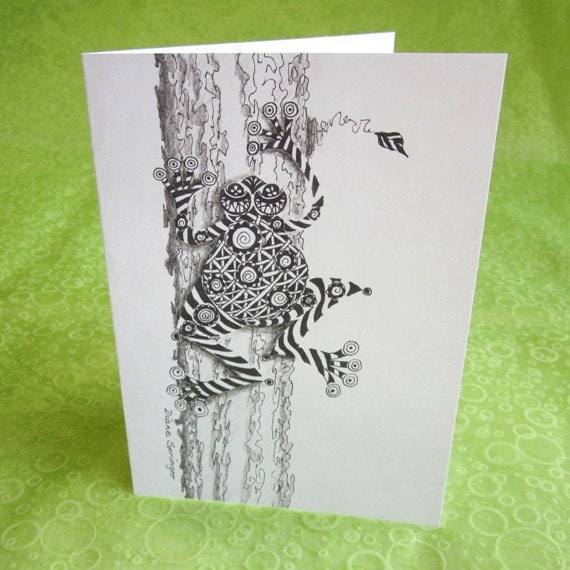 Zentangle Frog Cards, Variety Set of 4