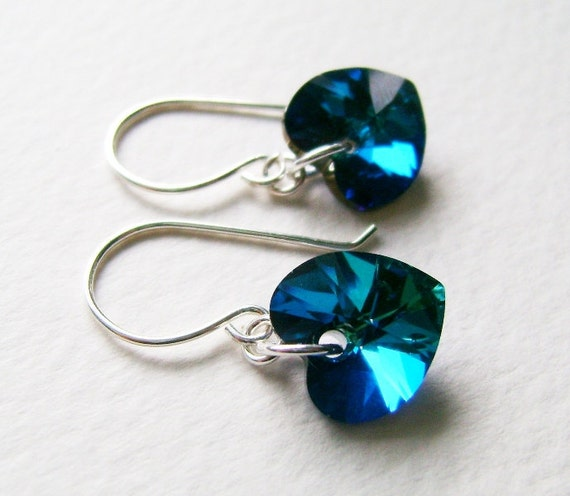 925 Bermuda Blue Swarovski Crystal Heart Earrings