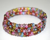 Memory Wire Bracelet with Sparkly, Multicolor Foil Lined Glass
