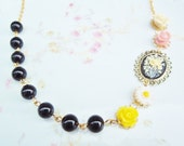 NEW - Vintage Cameo and Brightly Colored Flower Cabochons and Glass - 14K Gold - Old Hollywood Shabby Chic Daisy Cameo Necklace