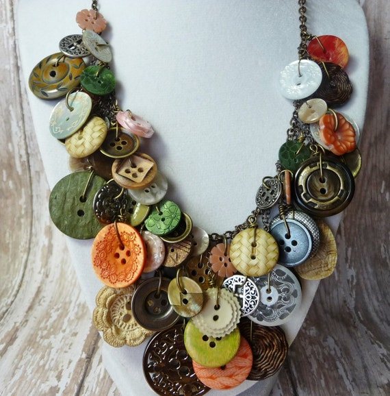 Bountiful Buttons - Vintage Button Necklace,Statement,AWARD WINNING,Green/Coral/Pearl/Ivory Buttons on Brass Chain,Repurposed