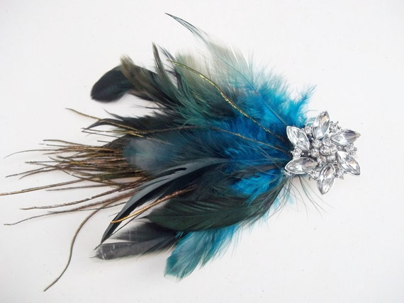 Peacock Feather Hair Clip  - Vintage Reproduction Rhinestone Button Accent