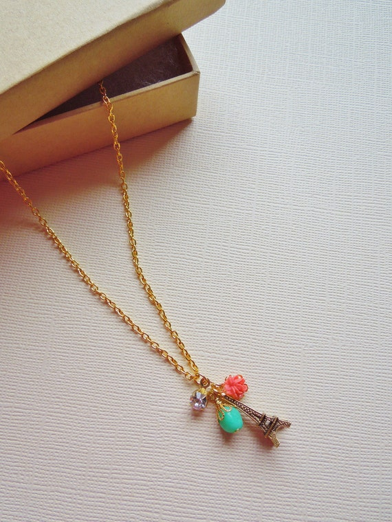 From Paris.....Trinket Necklace - Gold Charm, Gemtsone,Vintage Flower Cab, Rhinestone on 14K Gold Chain