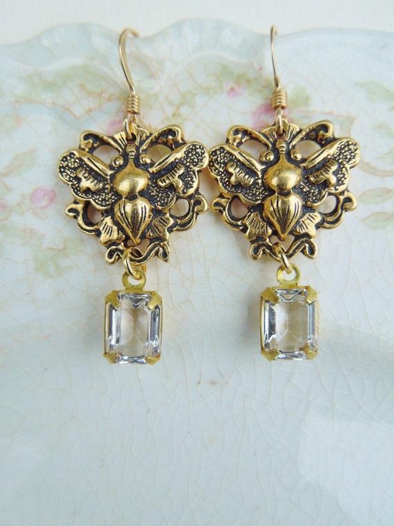Honeybee Earrings - Gold Honeybee Stampings with Vintage Rhinestone Jewel Drops - 14K Gold