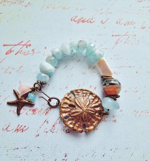 Luxe Aquamarine, Art Glass, and Pearl Bracelet - Gemstone Bracelet with Vintage Lucite Accents - Resort, Beach, Gemstone Jewlery