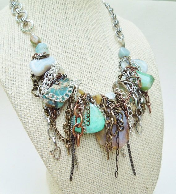 Fearless Female - OOAK Aqua Terra Jasper, Chalcedonay, Peruvain Opal, Raw Aquamarine and Larimar Gemstone Statment Necklace, Bibstyle