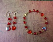 "Clearance / destash Ayla's Bead Creation  red hearts 7"" Bracelet and earring set, great christmas stocking gift"