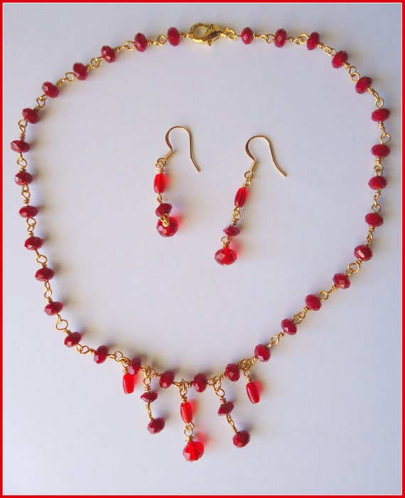 Clearance / Destash Ayla's Bead Creations Bohemian Velvet Red glass bead and crystal necklace earring set