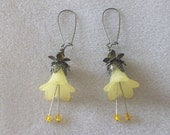 Flower Earrings - Earrings Yellow Trumpet Flowers with Bronze Findings, Spring Earrings, Weddings, Bridal, Bridesmaid Gifts