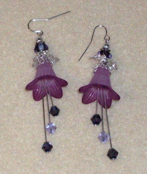 Flower Earrings, Earrings Purple Trumpet Flowers with Silver Findings, purple, silver, bridal, weddings, Bridesmaid Gifts