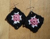 Crochet Earrings Black, Pink and White