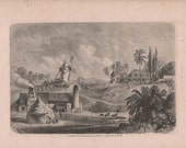 Original Antique Engraving Sugar plantation in Guadeloupe, French Carribean