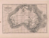 Antique French Map Australia 1860