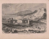 Antique Engraging View of Etna Sicily 1860