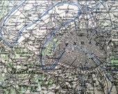 Antique French map - 1891 France, Paris, Bordeaux