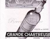 Original Vintage French Ad - Chartreuse liquor 1954