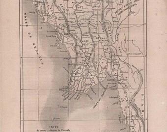 Antique Map of Burma 1860, Kingdom of Ava