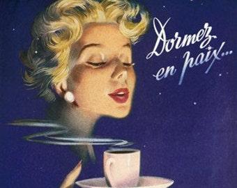 Original Vintage French Ad  Nescafe  Coffee Midcentury  Nescafe Advert 1954