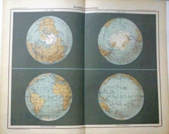 Antique World Map  1890 the Earth, four perspectives, hemispheres