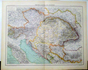 Antique Map of Empire of Austria and Hungary  1890 Large map of Austria Hungary 18 x 14 inches