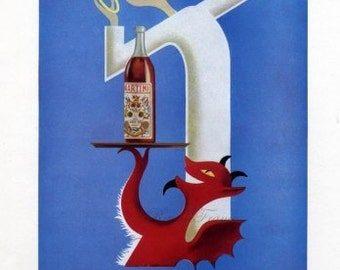 Original Vintage French Ad Martini & Rossi Vermouth Angel Devil 1954