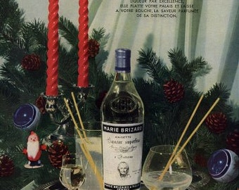Original French Vintage Ad   Marie Brizard 1954 For the Holidays
