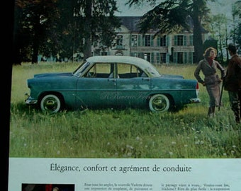 Vintage French Ad Ford  Vedette 1954