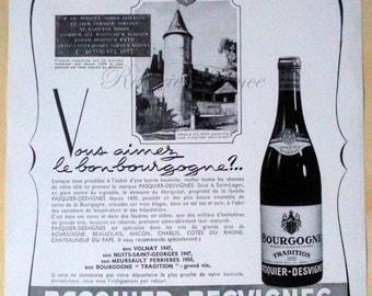 Original Vintage French Ad  Pasquier Desvignes Bourgogne  Burgundy Wine 1954