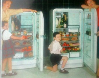 Vintage French Ad  Frigidaire Refrigerator France 1954