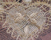 Romantic Needle Lace Heart Pointe d'Esprit Leaves for Wedding Bodice, Christening, Collectors
