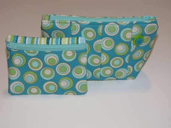 jewelry bags travel set,  makeup bag set, Handmade  zipper pouches,  quilted, coordinating circles and stripes