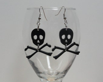 Pirate Skull and Cross Bones Acrylic Earrings