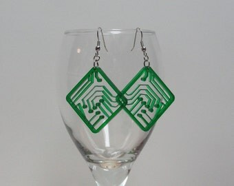 Circuit Board Inspired Acrylic Earrings