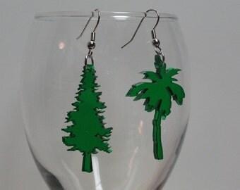 Tree Acrylic Earrings Palm Pine